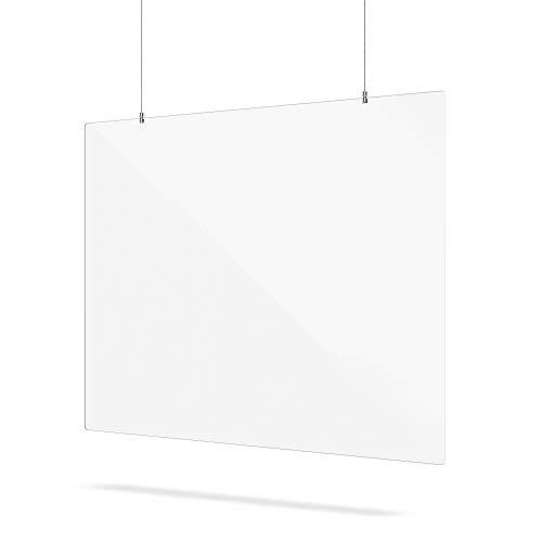Kunststoffplattenonline.de - Spuckschutz plexiglas mit Aufhängesystem - transparente plexiglasscheibe Trennwand - 120 x 80 cm