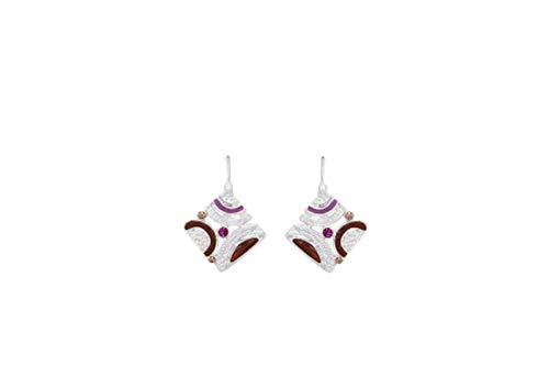 Perlkönig | Damen Frauen | Ohrringe Set | Ear Cuffs | Silber Violett Rot Farben | Quadrat förmig | Boho | Nickelabgabefrei