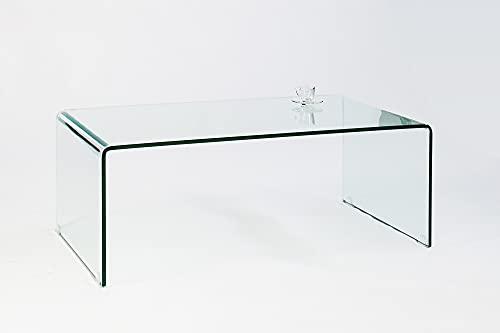 DuNord Design Couchtisch Tisch Wohnzimmertisch Beistelltisch Sofatisch Glas Klarglas 110cm Design Tisch Sofatisch klar