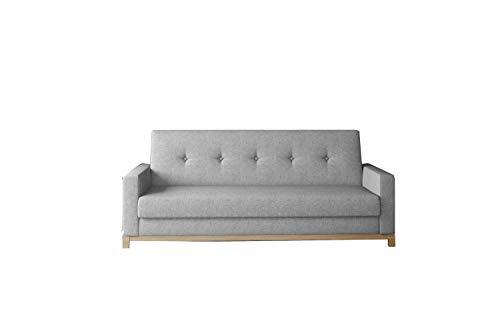 Schlafsofa mit Holzgestell Kippsofa Sofa mit Schlaffunktion und Bettkasten Couchgarnitur Couch für Wohnzimmer Sofagarnitur - BENE (Sawana 21 Buchenholz)