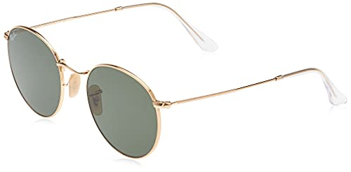 Ray-Ban RB3447N Flat Lens Metal Round Sunglasses, Gold/Green, 53 mm