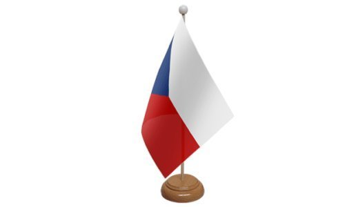 République Tchèque PETIT DRAPEAU DE TABLE AVEC SOCLE EN BOIS + 59mm Insigne de bouton
