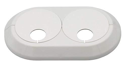 Doppelrosette für Heizungsrohre variabel, für variable Rohrabstände, Abdeckung, weiß, verchromt, anthrazitgrau; Loch: 15mm bis 28mm; Rohrmanschette, Heizung, Heizkörper (16mm, weiß RAL 9016)