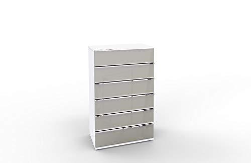 WIEMANN Montreal Kommode, mit Schubladen, für Schlafzimmer, Sideboard, highboard, Breite 75 cm, weiß, Glas grau, Kieselgrau, B/H/T 75 x 120 x 42 cm