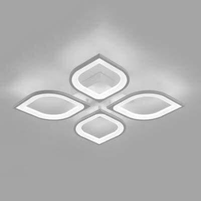 Luminarias, 212, Lámpara de acrílico clásico Vintage Chic Luz de techo 4/6 cabezas Pétalo Semi Semi Flush Luz Luz Luz Luz Luz Luz Luz con Doble Blanco Metal (Blanco, 4 Luces), Fixturesss
