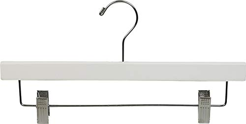 Wooden Bottom Hanger w/Clips, White Finish with Chrome Hardware, Box of 25 by The Great American Hanger Company