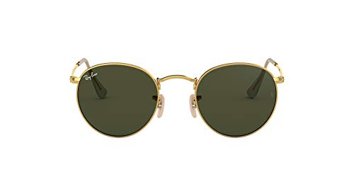Ray-Ban RB3447 Round Metal Sunglasses, Gold/Green, 53 mm