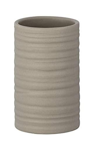 WENKO Vaso de dientes Mila Arena - Soporte para cepillos de dientes, para cepillos y pasta de dientes, Cerámica, 6.5 x 10.5 x 6.5 cm, Marrón