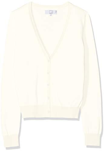 Amazon-Marke: MERAKI Baumwoll-Strickjacke Damen mit V-Ausschnitt, Elfenbein (Ivory), 38, Label: M