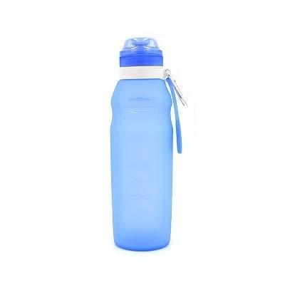 WEIGENG Botellas de agua plegables de 600 ml, de silicona, plegable, para viajes, ligera, para bebidas y agua, capacidad de 600 ml, color: azul