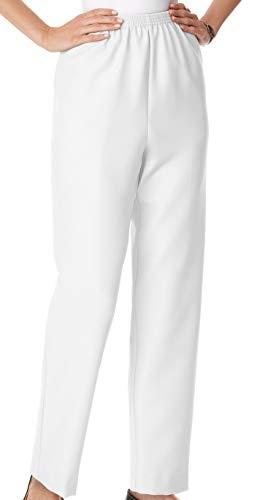 Alfred Dunner Classics Elastic Waist Pants White 12P S, 12 Petite Short