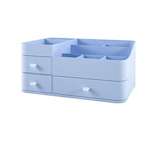 Cajón De Almacenamiento Cosmético Caja De Almacenamiento De Maquillaje Caja De Almacenamiento Cosmético De Plástico De Escritorio Adecuado Para Baño Encimeras De Dormitorio Tocador Caja De A(Color:蓝色)
