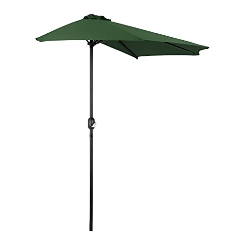 Uniprodo Parasol De Balcon Demi Lune Demi-Lune Demi-Parasol UNI_HALFUMBRELLA_R300GR (Vert forêt, Inclinable, Pentagonal, 270 x 135 cm, Armature en Acier)