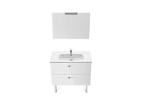 Roca A855857806 - Pack Victoria Basic 800 blanco (mueble base, lavabo, espejo y aplique)