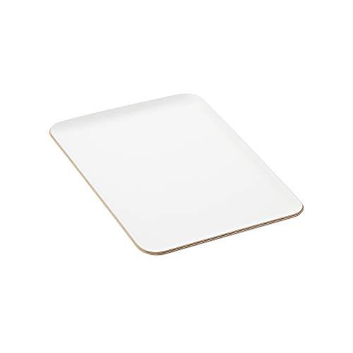Une 'domo Pv-liv-1193 Point-Virgule rectangulaire Plateau de service Blanc 33 x 23 cm, bois, marron