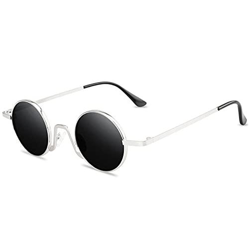 WQZYY&ASDCD Sonnenbrille Herren Damen Vintage Punk Frauen Antireflex Spiegel Brille Runde Metall Retro Männer Frühling Hip Pop Pop Brille-Schwarz