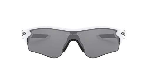 Oakley Men's OO9206 Radarlock Path Asian Fit Wrap Sunglasses, Matte White/Slate Iridium, 38 mm