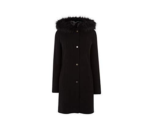 Oasis Damen Chloe-Parka fü mit Kaputze Formeller Mantel mit Seitentaschen und Knopfverschluss vorne in Schwarz - M