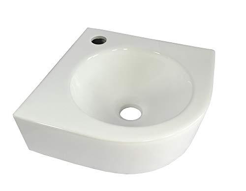 Eckwaschbecken Keramikwaschbecken weiß Hänge Waschbecken Keramik Aufsatz Wandmontage oval halbkreis Bad ca.30,5cm WP035