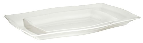 Premium Quality Heavyweight White Hard Plastic Serving Trays   Value Pack 6 Piece Set - 3 Trays - 12.5 x 8.35 And 3 Trays 8.75 x 6.125