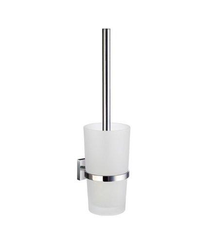 SMEDBO RK333 Toilettenbürste Haus mit Glasbehälter, porzellan, silber