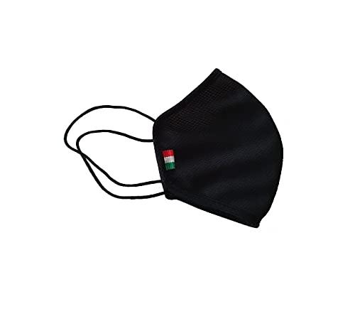 Fascia Protettiva Conca, Donna Bambini, Nera, lavabile e riutilizzabile, tessuto antibatterico certificato OEKO-TEX, protegge naso e bocca, taglia bambino Made in Italy