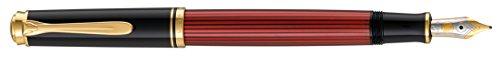Pelikan 928788 Kolbenfüllhalter Souverän M 600 Bicolor-goldfeder 14-K/585 Federbreite F, 1 Stück, schwarz/rot