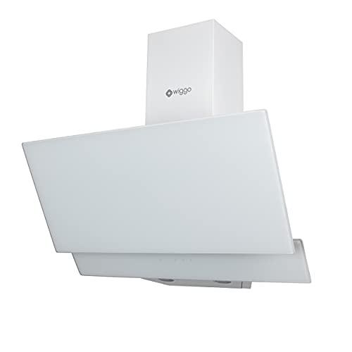 Wiggo Campana extractora de 90 cm, sin cabeza, con recirculación de aire, 300 m³/h, pantalla LED táctil de 3 niveles, filtro de grasa y 2 filtros de carbón, 2 partes frontal de cristal, color blanco