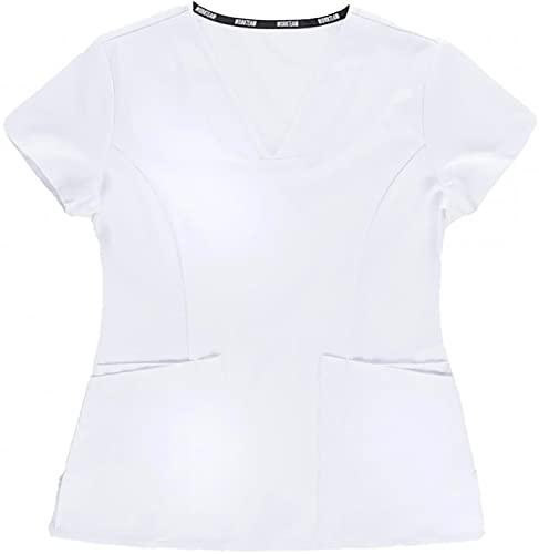 Workteam Casaca Sanitaria Entallada Mujer, Tejido Elástico. Camisa Médico, Enfermera, Dentista, Estética, Veterinaria. Blanco S