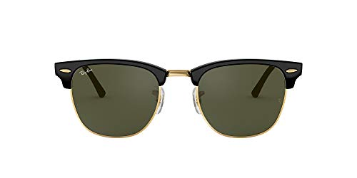 Ray-Ban RB3016 Clubmaster Square Sunglasses, Black on Gold/Green, 49 mm