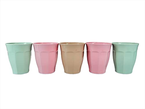 Pack Vasos Plástico Duro Niños, 5 unidades Vasos Plástico Colores, Vasos Reutilizables, 200 ml, sin BPA, Inastillable, Vaso para Agua, Leche, Zumo, Gaseosa, para Cumpleaños Infantiles y Fiestas