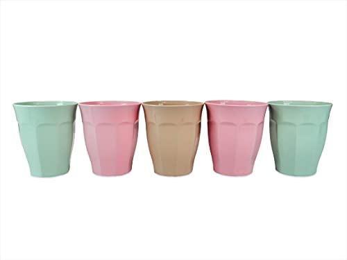 Pack Vasos Plástico Duro Niños, 5 unidades Vasos Plástico Colores, Vasos Reutilizables, 200 ml, sin BPA, Inastillable,...