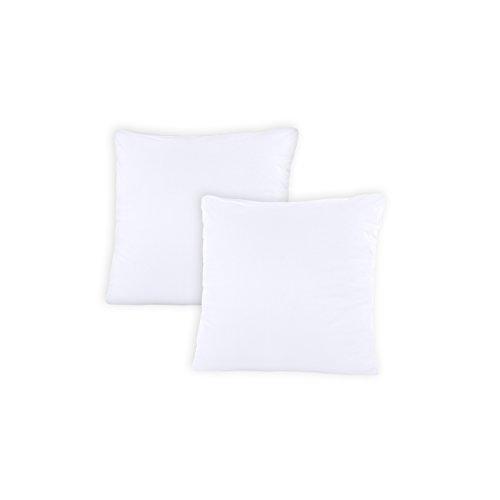 SHC - Kissenbezug 2er-Set für Dekokissen, 100{1518d8a18e3851291054e9f6c9b09ad71b68e43753c46deed8ad41d59352f4b2} Baumwolle mit Reißverschluss - 50x50 cm, weiß