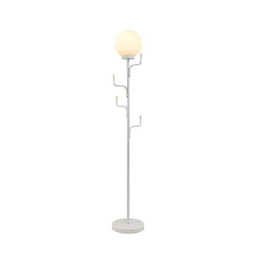 FGVBC Lámpara de pie E27 Lámpara de pie Pantalla de Cristal Lámpara de pie Nórdica Creativa con Perchas Lámpara de pie de mármol Dormitorio Sala de Estar Lámpara de pie de Noche (Color: Blanco)