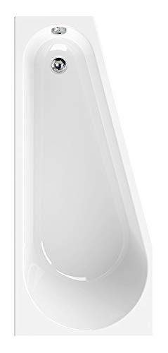 Calmwaters® Raumsparende Eckbadewanne 160x70 cm, Acrylwanne Essential Small, platzsparende Badewanne in rechter Ausführung, Maße 160 x 70 cm, Eck-Badewanne in Weiß, 02SL3329