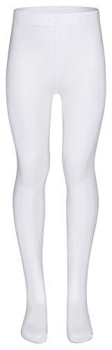 tanzmuster ® Ballettstrumpfhose Mädchen - Lena - kein Kratzen und Rutschen, äußerst strapazierfähig (Keine Laufmaschen), Strumpfhose fürs Kinder Ballett in weiß, Größe 152-170