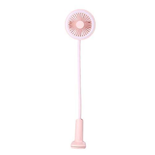 De enige goede kwaliteit XinMeiMaoYi ABS materiaal LED Mini elektrische ventilator USB oplaadbare Bed clip kinderwagen bureaublad Mute student slaapzaal Roze 20,6 * 12.3 * 52.8cm afkoelen