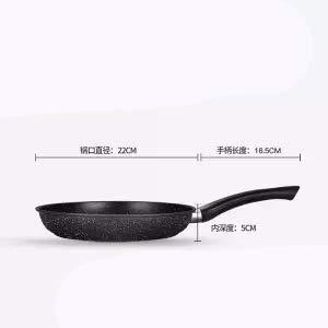 Dsnmm Petit ménage Frying Pan Pan antiadhésive Pas d'huile fumée Pot Universel Cuisinière à Induction Cuisinière à gaz Poêle Cuisine Pot, 24cm Double Usage poêle en Acier au Carbone