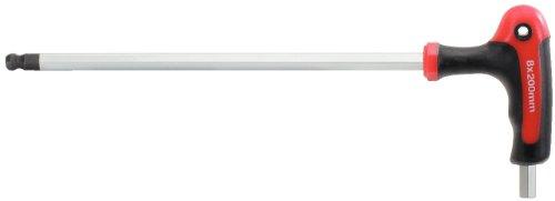 KS Tools 151.8139 Llave Allen acodada con cabeza esférica y empuñadura en T (tamaño: 12 mm, L=250 mm), 12mm