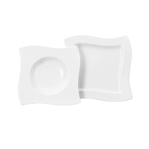 Villeroy und Boch NewWave Dinner-Set für bis zu 4 Personen, 8-teilig, Premium Porzellan, Weiß