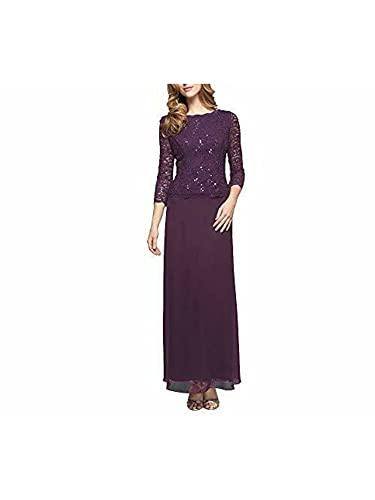 Alex Evenings Women's Long Mock Dress with Full Skirt (Petite and Regular Sizes), Deep Plum, 12P