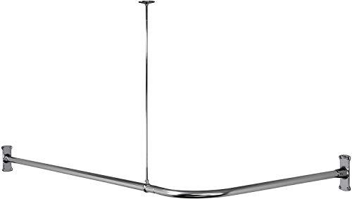 Hudson Brass Works WO L-Shape Shower Curtain Rod, Polished Chrome, 61. 5 x 25. 75 x 24 inches (1, Single Расk)