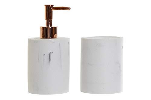 Space Home - Seifenspender - Nachfüllbarer Seifendosierer für Flüssigseife und Lotion - Badezimmer Set - Seifenspender + Zahnbürstenhalter - Set von 2 Stück - Weiß