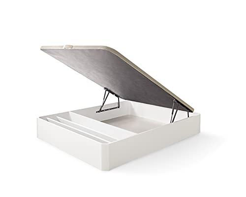 ECCOX - Canapé con Zapatero Abatible de Gran Capacidad de Almacenaje con Esquinas Redondeadas en Madera - Montaje Incluido - Altura 28cm de Almacenaje - Base Tapizada 3D - Blanco (150x200)