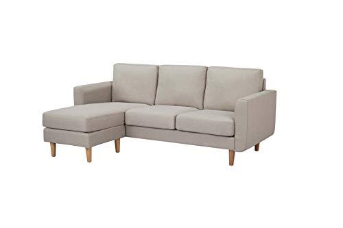 Amazon Brand - Movian corner sofa, 197 x 78 x 83 cm, light grey with wooden legs