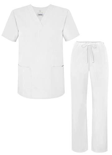 Adar Universal Unisex Pflegebekleidung - Unisex Set mit Kordelzug - 701 - White - M