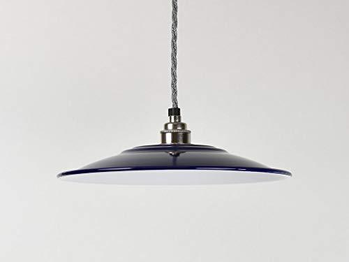 Flacher True-Blue-Emaille-Lampenschirm im industriellen Vintage-Stil (Fabrik-/Warenhausstil).