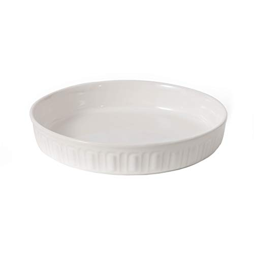FE Ceramic Pie Pan for Baking, 10 Inches Round Baking Dish, Non-Stick Rome Pillar Pie Dish Plate for Dinner (Ivory White)