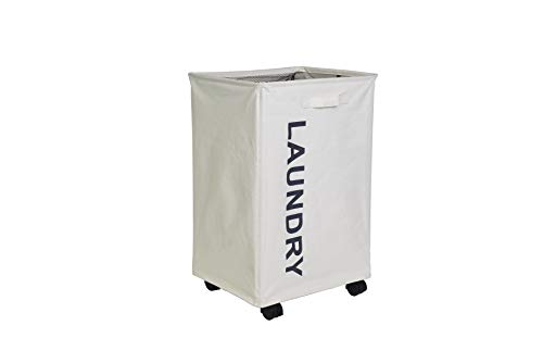 YiapMerg 90L Large Rolling Laundry Hamper with Wheels Collapsible Laundry Hamper Bin for Dirty Clothes Storage Waterproof Rectangular Laundry Basket (Beige)