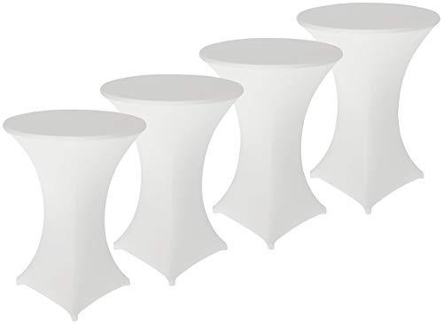 infactory Hussen Tische: 4er-Set Stretch-Stehtischhussen, Oeko-TEX® Standard 100, Ø 80 cm, weiß (Tisch-Überzug)